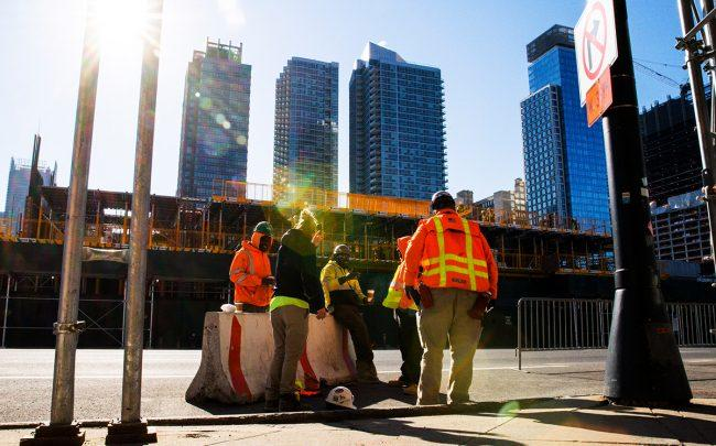 Construction workers in New York City on March 26, 2020 (Credit: Eduardo Munoz Alvarez/Getty Images)