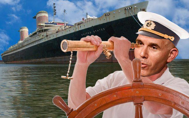 A photo illustration of Scott Rechler and the SS United States (Credit: Eugene Gologursky/Getty Images for National Eating Disorder Association, Brian W. Schaller via Wikipedia)
