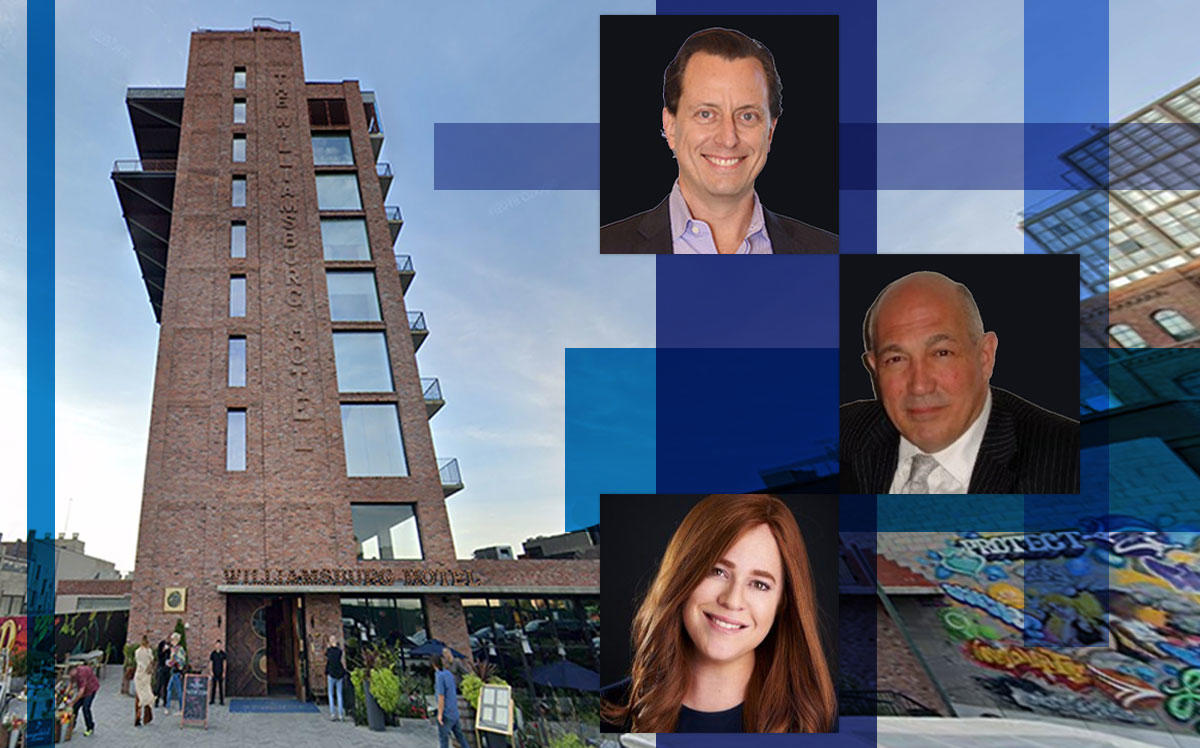 The Williamsburg Hotel at 96 Wythe Avenue and from top: Benefit Street Partners' managing director Micah Goodman, receiver Constantino Sagonas and Heritage Equity Partners' Toby Moskovits (Credit: Google Maps)