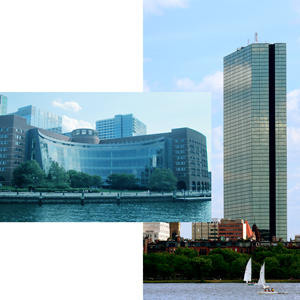 The John Joseph Moakley Federal Courthouse and the John Hancock Tower (Credit: Beyond My Ken and Tomtheman5 via Wikipedia Commons)