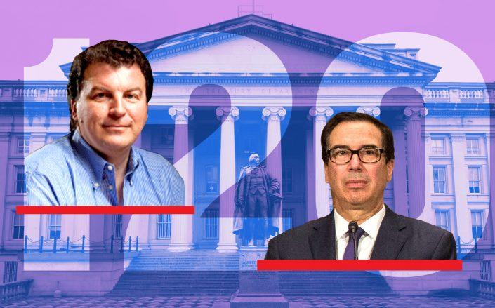 Miller Samuel's Jonathan Miller and Department of the Treasury and Steve Mnuchin (Credit: Wikipedia; Getty Images)