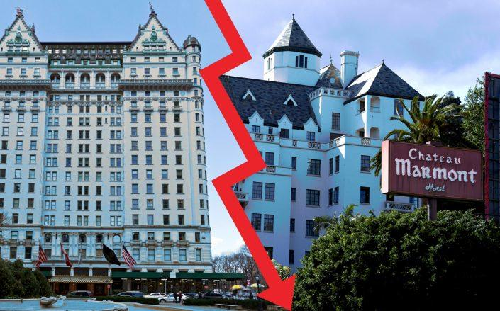 Hotels across the country — including the Plaza Hotel in New York and Chateau Marmont in LA — have shuttered and laid off and furloughed staffers. (Credit: Keith Birmingham/MediaNews Group/Pasadena Star-News via Getty Images; iStock)