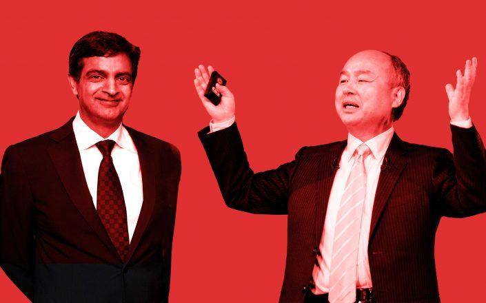 WeWork CEO Sandeep Mathrani and Softbank CEO Masayoshi Son (Credit: Mathrani by Neilson Barnard/Getty Images; Son by Alessandro Di Ciommo/NurPhoto via Getty Images)