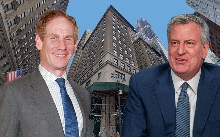 Janno Lieber, Bill de Blasio and 347 Madison Avenue (Credit: Charles Eshelman/Getty Images; David Dee Delgado/Getty Images; Google Maps)
