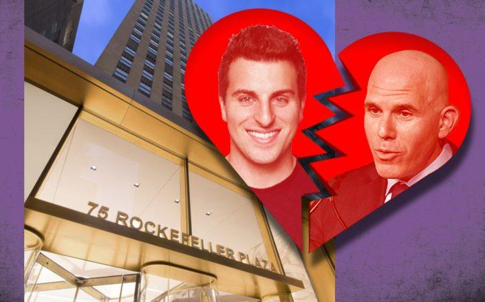 Airbnb's Brian Chesky, RXR Realty's Scott Rechler and 75 Rockefeller Plaza (Credit: Rechler by Eugene Gologursky/Getty Images, 75 Rockefeller)