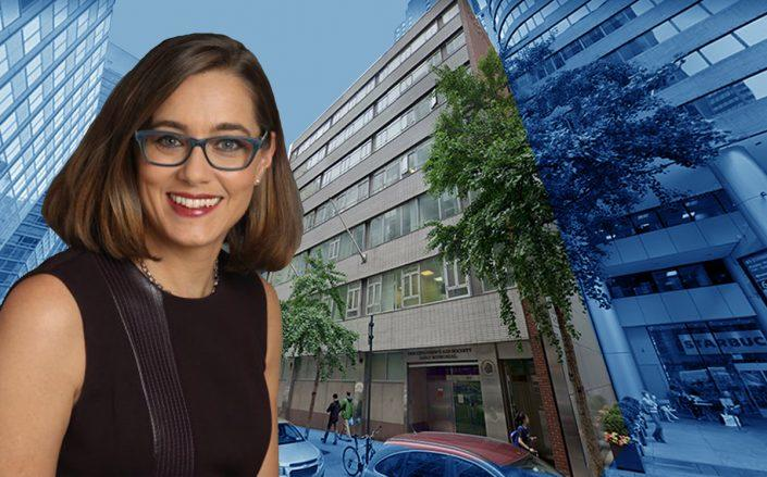 150 East 45th Street and Children's Aid president Phoebe Boyer (Credit: Google Maps)