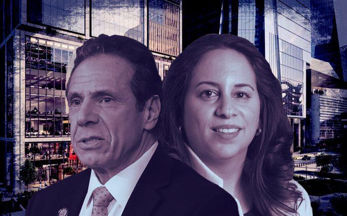 Gov. Andrew Cuomo and Melanie La Rocca (Credit: Cuomo byBennett Raglin/Getty Images, 50 Hudson Yards)