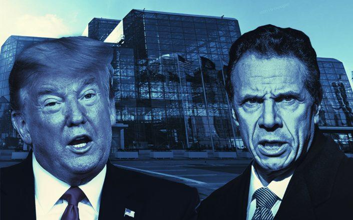 Javits Center, President Donald Trump and NY Governor Andrew Cuomo (Google Maps; Cuomo by Steven Ferdman/Getty Images; Trump by Win McNamee/Getty Images)