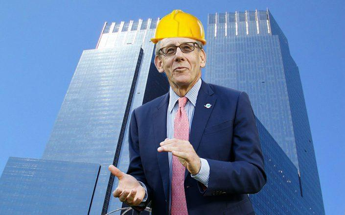 A photo illustration of Stephen Ross and Time Warner Center (Credit: Joel Auerbach/Getty Images, Wikimedia Commons)