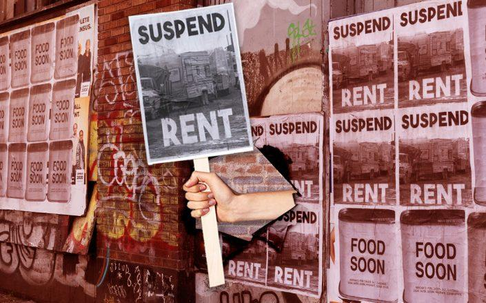 A photo illustration of rent strike wheat paste posters (Credit: Getty Images, iStock)