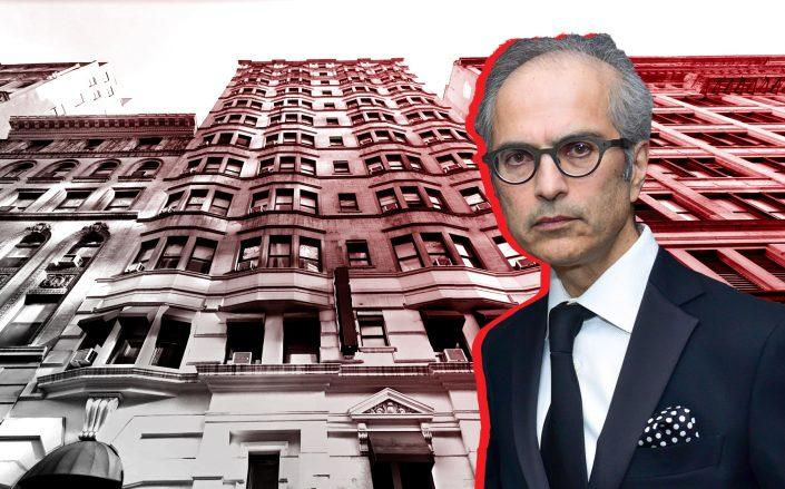 Highgate Hotels' Mahmood Khimji with the Gregory Hotel at 42 West 35th Street (Credit: Khimji via Sean Zanni/Patrick McMullan via Getty Images; Google Maps)