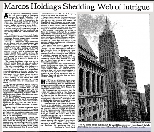 A 1989 article in the New York Times chronicled the drama behind the Marcos transaction