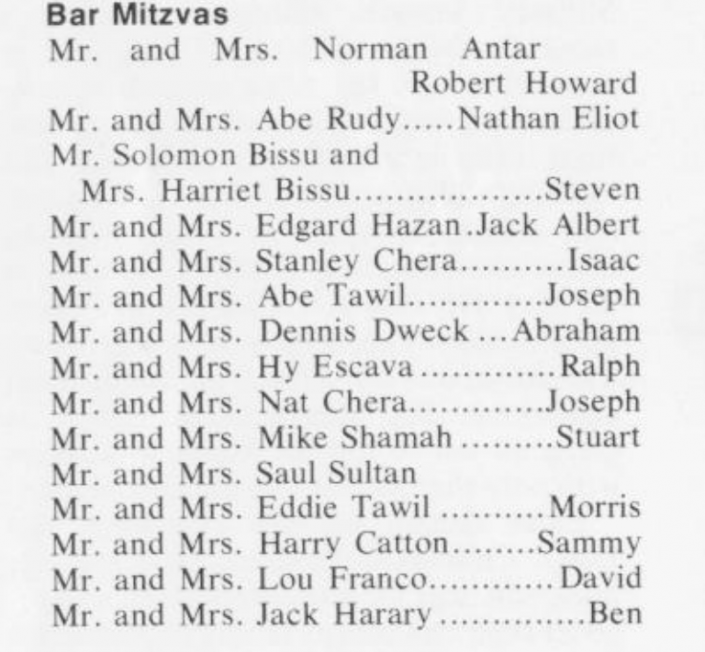 A bar mitzvah notice for Stanley Chera's eldest son, Isaac, in the newsletter for Magen David Yeshiva, a religious institution prominent in Bensonhurst