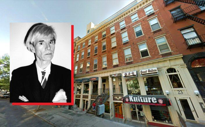 19-23 St. Mark's Place with Andy Warhol (Credit: Google Maps; Warhol by Mark Sink / Corbis via Getty Images)