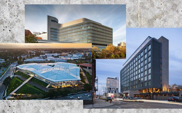 Renderings of Nvidia headquarters by Gensler, University of Virginia University Hospital Expansion by Perkins and Will and The Hoxton Williamsburg by Perkins Eastman (Credit: Gensler; Perkins and Will; Perkins Eastman)