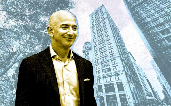 Amazon CEO Jeff Bezos and 212 Fifth Avenue (Credit: Bezos by Andrej Sokolow/picture alliance via Getty Images; Google Maps)