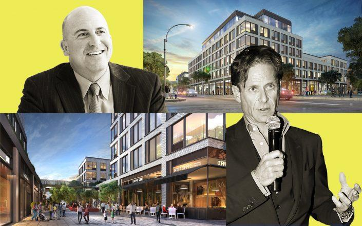 Billy Macklowe (right) and David Welsh with renderings of 120 Fifth Avenue in Park Slope (Credit: Macklowe by Patrick McMullan/Patrick McMullan via Getty Images; Senlac Ridge Partners)