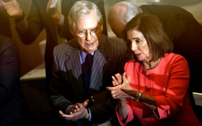 Senate Majority Leader Mitch McConnell and House Speaker Nancy Pelosi (Credit: (Photo by Drew Angerer/Getty Images)