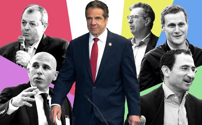 Clockwise from left: Scott Rechler of RXR Realty, James Whelan of REBNY, Governor Andrew Cuomo, Bill Rudin of Rudin Management, Rob Speyer of Tishman Speyer and Jonathan Gray of Blackstone (Illustration by The Real Deal)