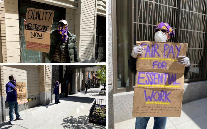 Essential workers at two luxury Manhattan resi buildings have walked out on the job, citing poor work conditions and harassment. (Credit: SEIU 32BJ)