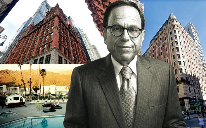 GFI Capital CEO Allen Gross with the Beekman Hotel at 123 Nassau Street (top left), Ace Hotel at 20 West 29th Street in NYC (right) and Ace Hotel & Swim Club Palm Springs in California (bottom left) (Credit: Ace Hotels; GFI; Google Maps)