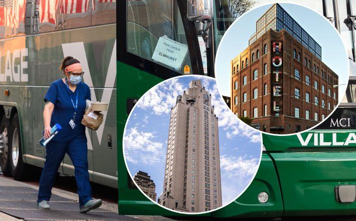 A medical worker boards a bus that transports staff to local hotels. Inset: Four Seasons on East 57th Street and the Wythe hotel in New York (background by Noam Galai/Getty Images)