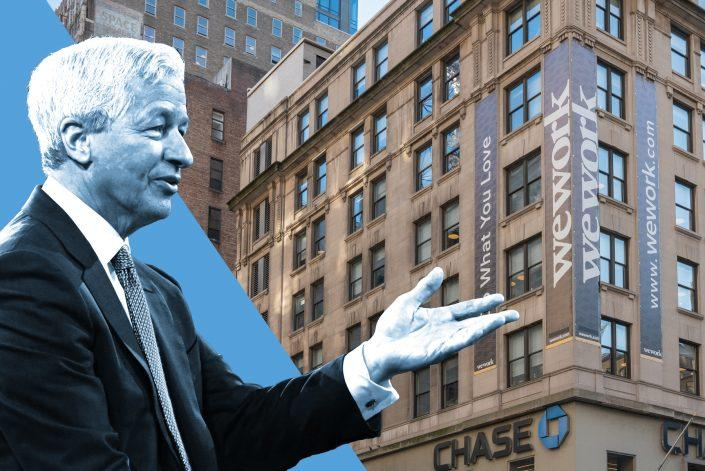 JPMorgan's Jamie Dimon (Credit: Dimon via KENA BETANCUR/AFP via Getty Images; Background via David Dee Delgado/Getty Images)