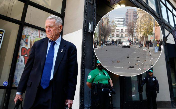 U.S. District Judge David Carter finishes presiding over a closed hearing to discuss possible immediate solutions to the Skid Row (Credit: (Photo by Genaro Molina/Los Angeles Times via Getty Images; Wikipedia)
