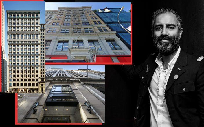 Knotel CEO Amol Sarva with 40 Exchange Place, 61 Broadway and 5-9 Union Square West (Credit: Sarva by Sasha Maslov)