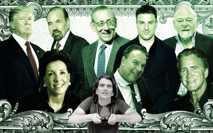 From left: Donald Trump, Jane Goldman of Solil Management, Jorge Perez of Related Group, Stephen Ross of Related Companies, Jeff Greene, Brian Chesky of Airbnb, Sam Zell of Equity Group Investments, Jeff Sutton of Wharton Properties with Adam Neumann, former WeWork CEO (Illustration by The Real Deal)