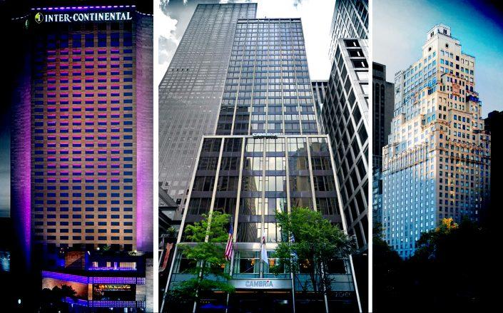 From left: Intercontinental Miami, Hotel 166 in Chicago and the Ritz-Carlton in New York (Credit: IC Miami Hotel, Google Maps and The Ritz-Carlton)