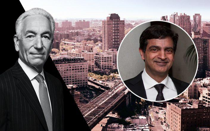 Charlie Kushner and WeWork CEO Sandeep Mathrani with Dumbo Heights (Credit: Kushner via Sasha Maslov; Getty Images; Dumbo Heights)