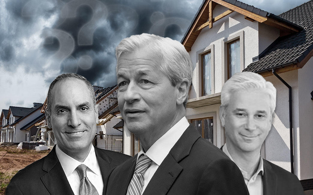 From left: US Bank CEO Andrew Cecere,JPMorgan CEO Jamie Dimon, and Wells Fargo CEO Charles Scharf, whose firms are all ratcheting up home lending standards. (Credit: Jaime Dimon photo, Alex Wroblewski/Getty Images)
