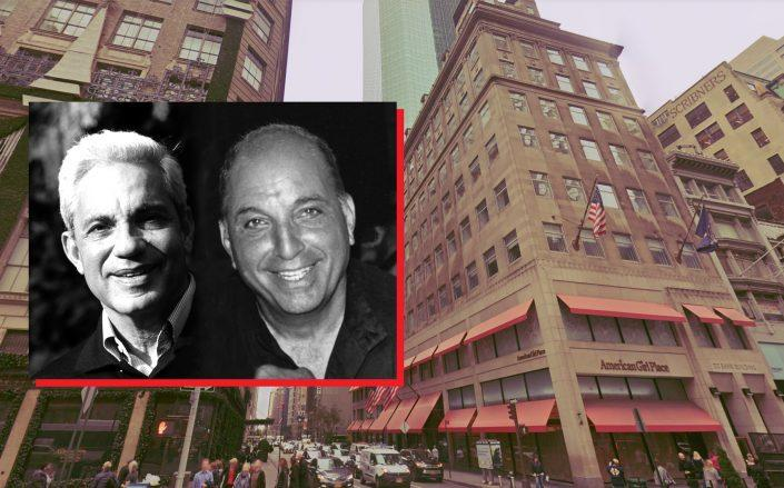 Simon and David Reuben with 609 Fifth Avenue (Credit: Google Maps; Wikipedia)