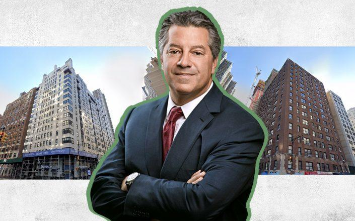 SL Green CEO Marc Holliday with 400 East 57th Street and 400 East 58th Street (Credit: SL Green, Google Maps)