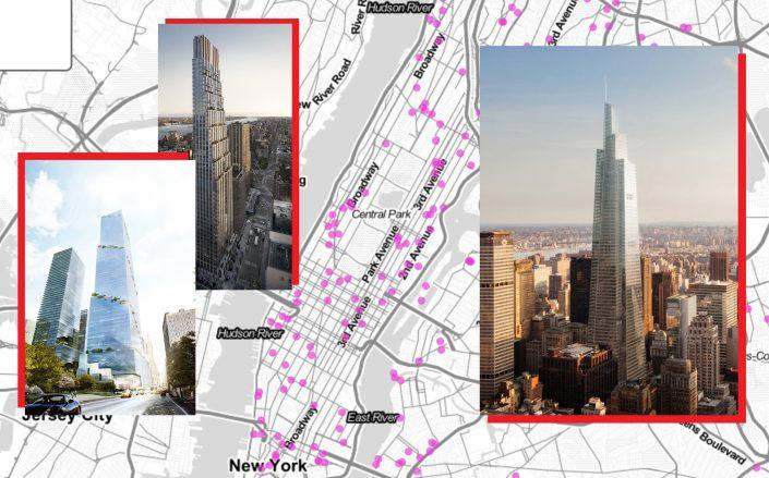 From left: 66 Hudson Boulevard, 200 Amsterdam Avenue and One Vanderbilt (Credit: Tishman Speyer; 200 Amsterdam; KPF)