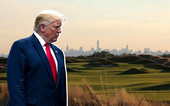 Trump Golf Links at Ferry Point and Donald Trump (Credit: Trump Ferry Point; Getty Images)