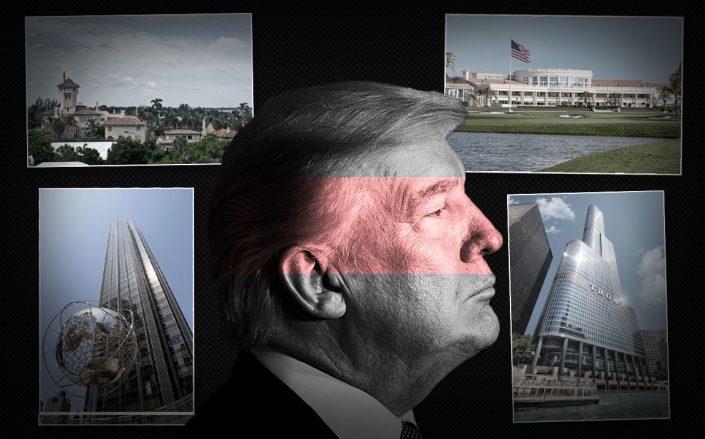 Donald Trump with Mar-a-Lago Club, Trump National Doral Miami, Trump International Hotel & Towers Manhattan and Chicago (Credit: BRENDAN SMIALOWSKI/AFP via Getty Images, Christine Davis, Ingfbruno, and Trump International)