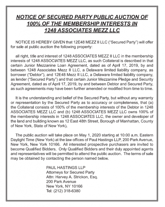 (Caption: Notice published in Commercial Mortgage Alert's April 17 newsletter. The auction was canceled by court order. Source: New York State Unified Court System)