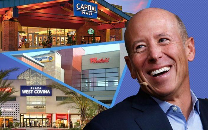 Barry Sternlicht and (from top)Capital Mall in Washington, Franklin Park Mall in Ohio and Plaza West Covina Mall in California (Credit: Capital via Starwood, Franklin via OCP Contractors)