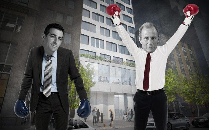 Photo illustration of Hidrock CEO Abraham Hidary, 54 Madison CEO Henry Silverman and 12 East 48th Street (Credit: 54 Madison Partners, iStock)