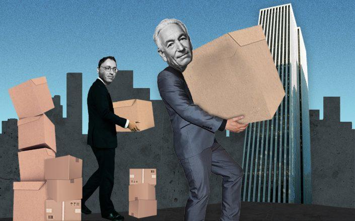 Photo illustration of Kusher Companies President Laurent Morali, Charles Kushner and the GM Building (Credit: Sasha Maslov, iStock, Trump Organization)