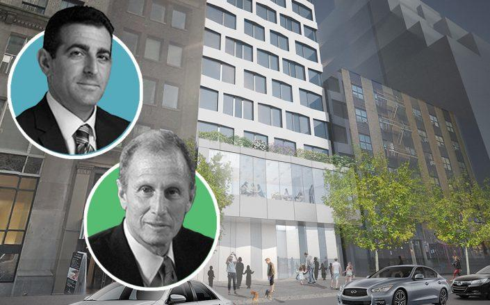 Hidrock CEO Abraham Hidary, 54 Madison CEO Henry Silverman and a rendering of 12 East 48th Street (Credit: 54 Madison Partners)