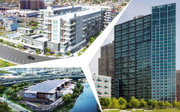 Clockwise from top left:190 Beach 69th Street,47-20 Center Boulevard and2505 Bruckner Boulevard