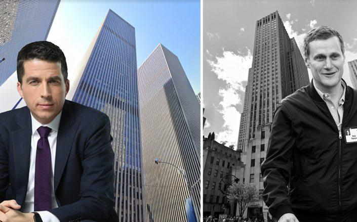 From left: Rockefeller Group CEO with 1221 6th Avenue and Tishman Speyer CEO Rob Speyer with 630 Fifth Avenue (Credit: Google Maps; Rockefeller; Drew Angerer/Getty Images)