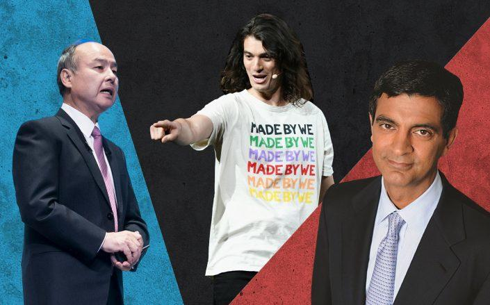 From left: Softbank CEO Masayoshi Son, WeWork co-founder Adam Neumann and  WeWork CEO Sandeep Mathrani (Credit: Getty Images)