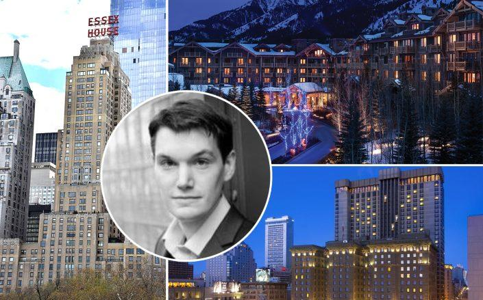 Clockwise from the top left: JW Marriott Essex House in New York, the Four Seasons in Jackson Hole and the Westin St. Francis in San Francisco with Daija CEO Andrew Miller (Credit: MusikAnimal via Wikipedia; Jackson Hole Real Estate; Booking)