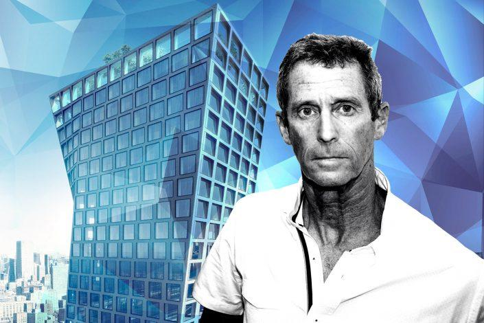 Beny Steinmetz and a rendering of The XI at 76 11th Avenue (JACK GUEZ/AFP via Getty Images; BIG)