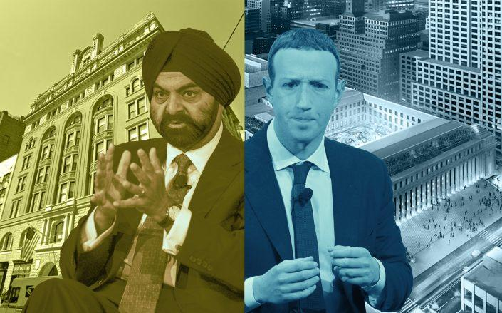 Mastercard CEO Ajaypal Singh with 150 Fifth Avenue and Facebook CEO Mark Zuckerberg with Moynihan Station in New York (Getty; Google Maps)