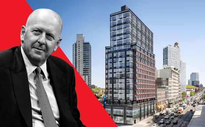 Goldman CEO David Solomon and 1 Flatbush Avenue (Credit: Michael Kovac/Getty Images; Hill West Architects)